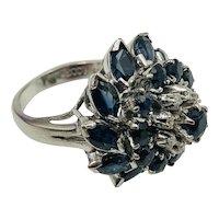 Fabulous 18K White Gold, Sapphire & Diamond  Cocktail Ring size 7