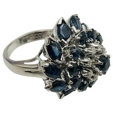 Fabulous 18K White Gold, Sapphire & Diamond  Cocktail Ring size 7