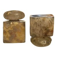 Designer Rebecca Collins Contemporary Quartz Clip On Earrings
