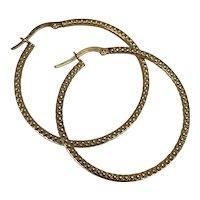 Italian 14K Gold Hoop Earrings hallmarked