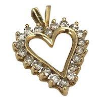 Gold and Diamond Heart  Shaped Pendant