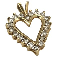 Gold and Diamond Heart  Shaped Pendant