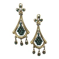 Victorian 14K Gold & Persian Turquoise  Dangle Earrings