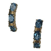London Blue Topaz 14K Gold Drop Earrings