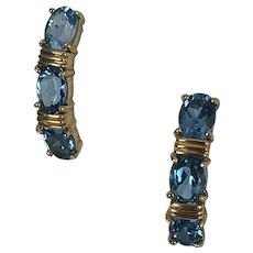 London Blue Topaz 14K Gold Drop Earrings