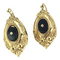 Victorian 9K Gold & Onyx Earrings hallmarked