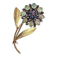 Antique Estate 14K Gold Moonstone, Pink and Blue Topaz Floral Brooch