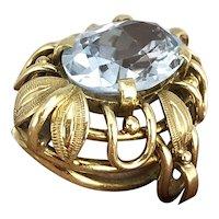 Aquamarine 14K Gold Ring size 6.25