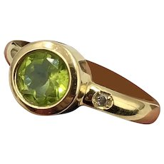 18K Gold, Diamond & Peridot Ring size 7
