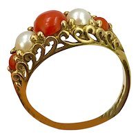 Antique Estate Coral & Pearl Gold Ring  hallmarked size 8