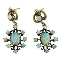 Victorian 14K Gold & Opal Drop Earrings hallmarked