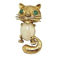 Adorable Vintage 18K Gold, Opal & Jade Cat Brooch