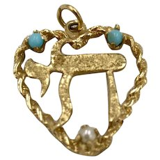 14K Gold Chai  Pendant , with Pearl and Persian Turquoise accents set within a Heart Hallmarked