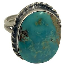 Old Pawn Native american Turquoise Sterling Silver Ring hallmarked