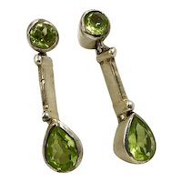Sterling Silver and Peridot Drop Earrings