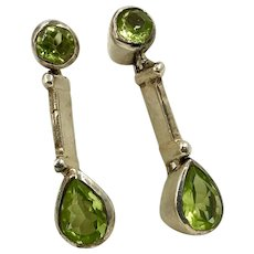 Sterling Silver and Peridot Drop Earrings