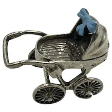 Antique Silver Miniature Baby Stroller with Blue Ribbon hallmarked