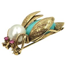 Estate 14K Gold Turquoise, Pearl and Ruby Bumble Bee Brooch