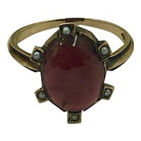 Antique Estate 14K Gold Tourmaline & Seed Pearl Ring size 6.5
