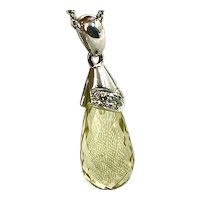 14K White gold Diamond & Citrine Pendant hallmarked
