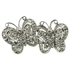 14K White Gold  & Diamond  Butterfly Brooch hallmarked