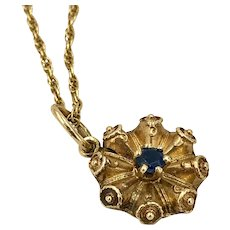 Antique 14K Gold and Sapphire Pendant