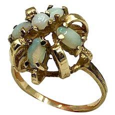 Vintage Opal & 10K Gold Cocktail Ring size 4