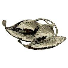 Vintage Sterling Silver  Hallmarked Leaf Brooch