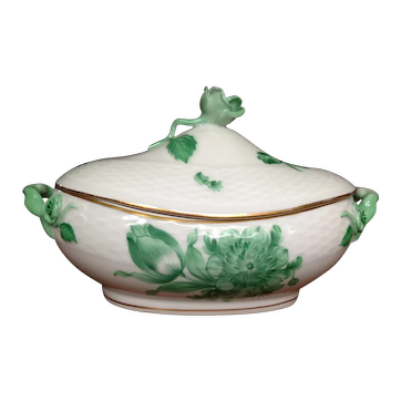 Vintage Herend  Hors D'Oeuvre Dish Green Chinese Bouquet Pattern hallmarked