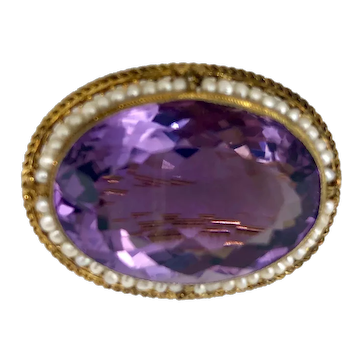 Antique 14K Gold & Amethyst Brooch with Seed Pearls