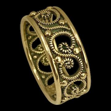 Vintage 14K Gold Filagree Ring size 6