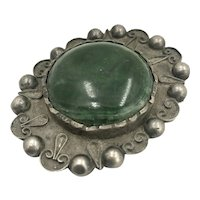 Antique Mexican Aventurine  & Sterling Silver Hand Wrought Brooch