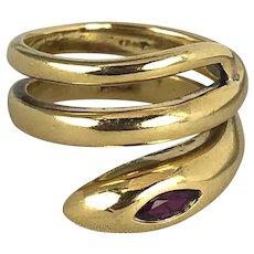 18K Gold Ruby Snake Ring size 5.5