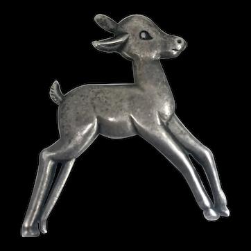 Vintage Sterling Silver Fawn Baby Deer Brooch
