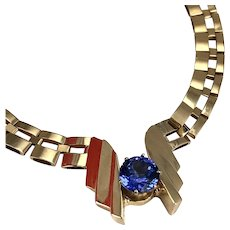 14K Gold 1980's Choker Necklace With 1.5 ct Red Pinkish Hue Tanzanite Gemstone marked