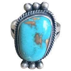 Mexican Sterling Silver and Turquoise Ring size 7.5