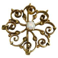 Antique Opal 14K Gold Brooch Pendant