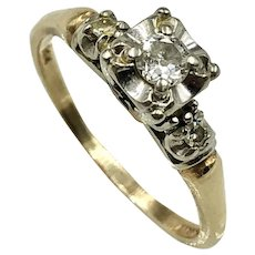 1940's Diamond  & 14K Gold Engagement Ring marked 'Her Majesty' size 7.5