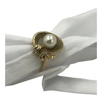 Vintage Gold & Pearl Ring hallmarked, size 7