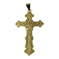 Antique Estate 14K Gold Cross Pendant