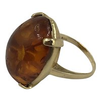 Vintage 14K Gold and Amber Ring size 6.5