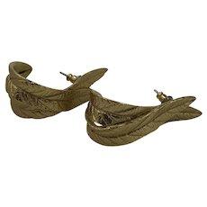 Vintage Crown Trifari Gold Leaf Post Earrings