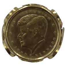 Gold JFK Memorial Coin Ring size 7