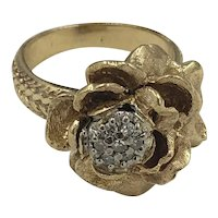 14K Gold & Diamond Flower Ring size 6