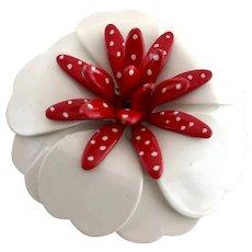Fabulous 1950s Red & White Enameled Flower Brooch