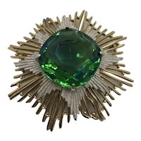 Vintage Fabulous Beveled Green Glass Stone Brooch