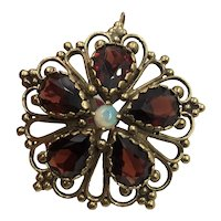 Antique Tourmaline & Opal 14K Gold Brooch / Pendant Hallmarked