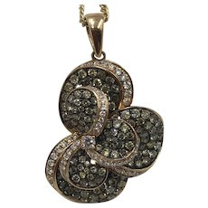 18K Gold Pendant with 200 White and Champagne Pave Diamonds