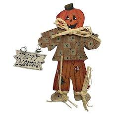 Vintage Wooden Scarecrow Halloween Brooch