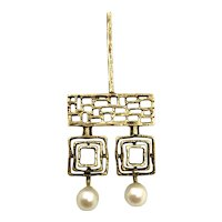 Mid Century  1960's  14K Gold and Pearl Pendant